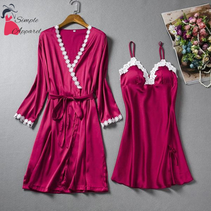 Loose Split Robe And Pyjama Set Red / M
