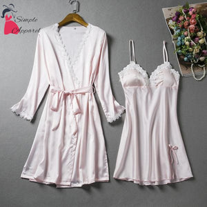 Loose Split Robe And Pyjama Set Silver Gray / M
