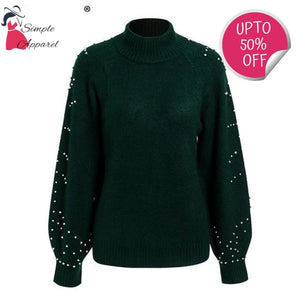 Loose Sweater With Beading And Turtle Neck Dark Green / S