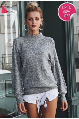 Loose Sweater With Beading And Turtle Neck
