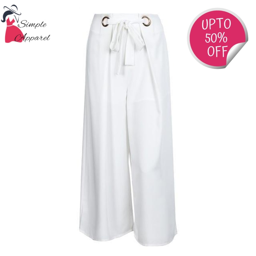 Metal Ring Tie Up Wide Leg Pants White / S