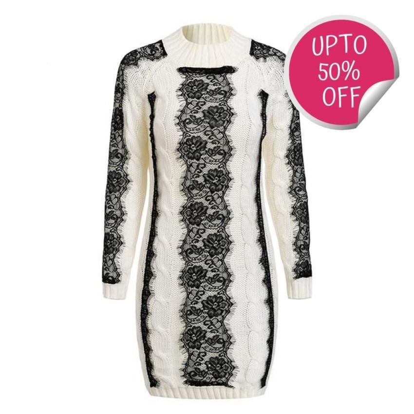O Neck Twist Knitted Dress Off White / One Size