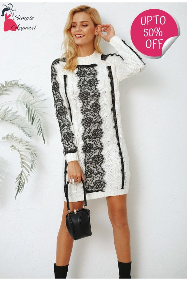 O Neck Twist Knitted Dress