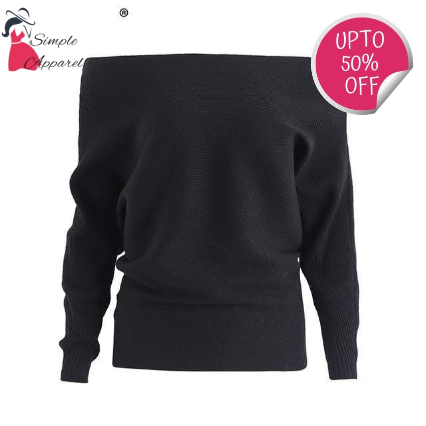 Off Shoulder Elastic Knitted Pull Over Black / One Size