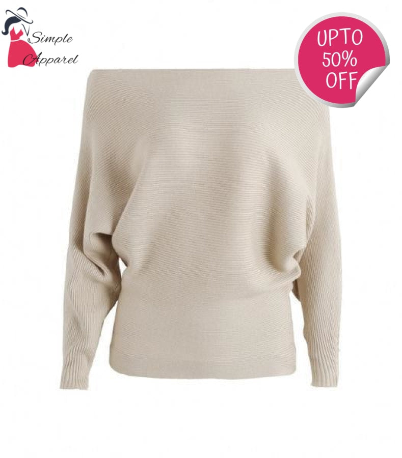 Off Shoulder Elastic Knitted Pull Over Light Apricot / One Size