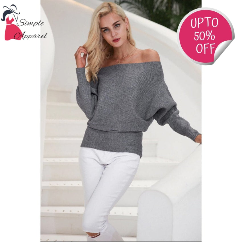 Off Shoulder Elastic Knitted Pull Over
