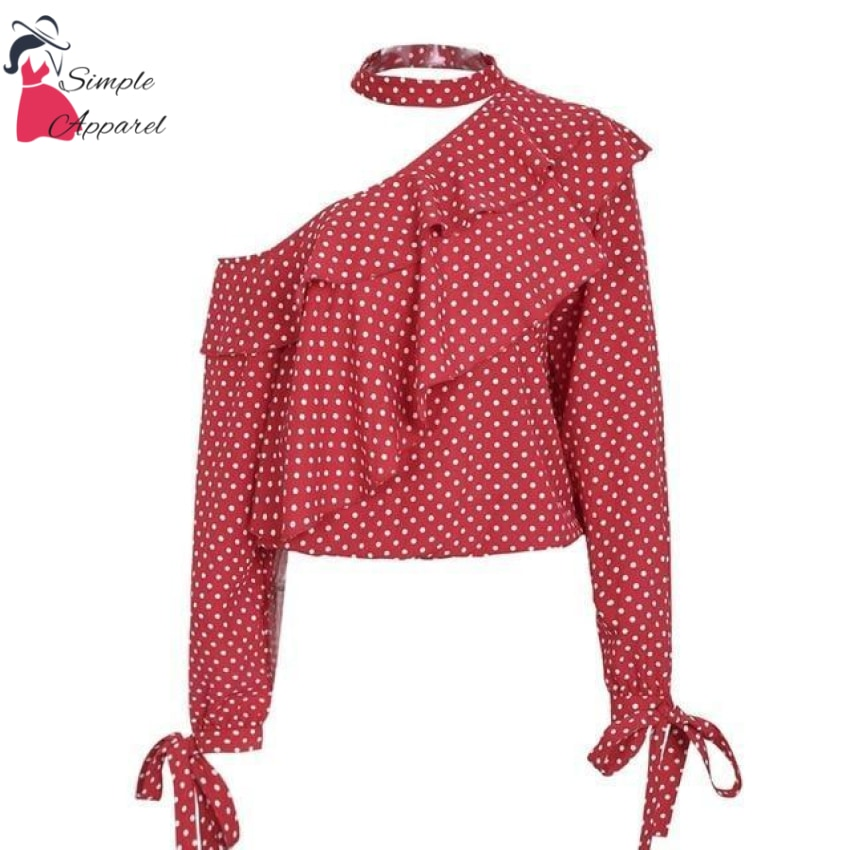 One Shoulder Polka Dot Ruffle Blouse Red / S