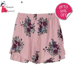 Pleated Floral Print Summer Shorts Pink / S