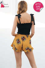 Pleated Floral Print Summer Shorts