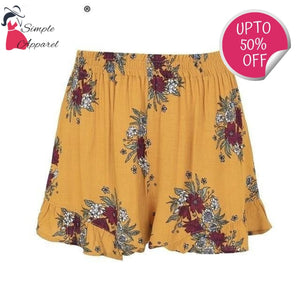 Pleated Floral Print Summer Shorts Yellow / S