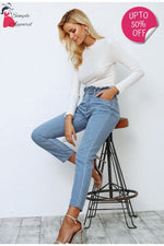 Pleated High Waist Push Up Jeans