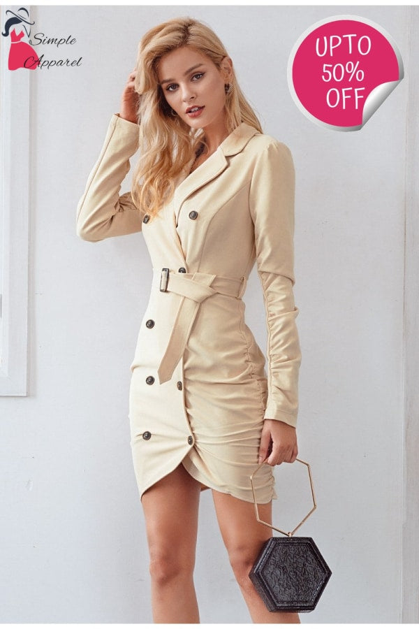 Pleated Sleeve Trench Dress
