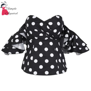 Polka Dot Off Shoulder Ruffle Blouse Black / S