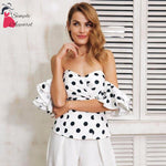 Polka Dot Off Shoulder Ruffle Blouse