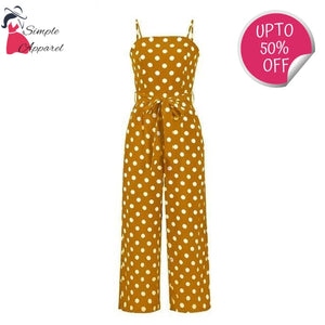 Polka Dot Vintage Jumpsuit Yellow / S