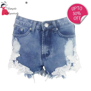 Ripped Pocket Casual Denim Shorts Blue / Xs