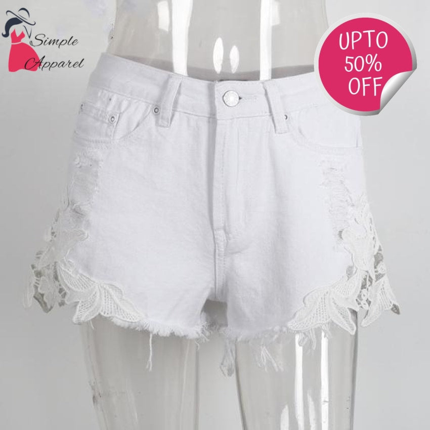 Ripped Pocket Casual Denim Shorts White / Xs