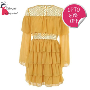 Ruffle Mesh Summer Dress Yellow / S