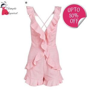 Ruffle V Neck Backless Romper Pink / S