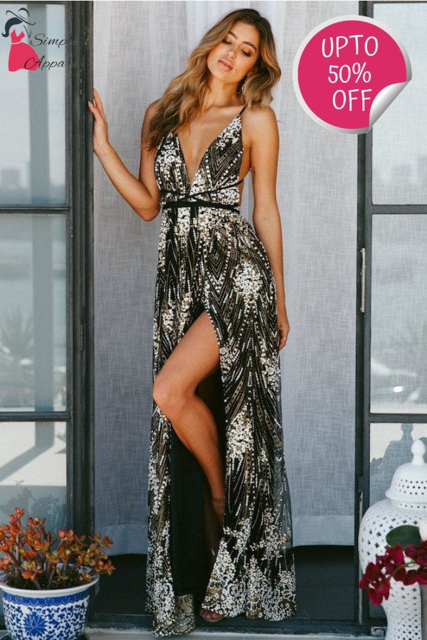 Sequin V Neck Backless Maxi Dress