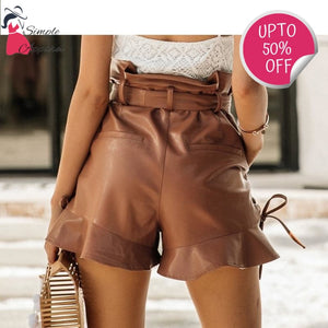 Side Lace Up Leather Shorts