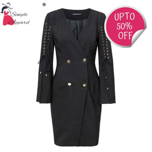 Simple Lace Up Split Blazer Dress Black / S