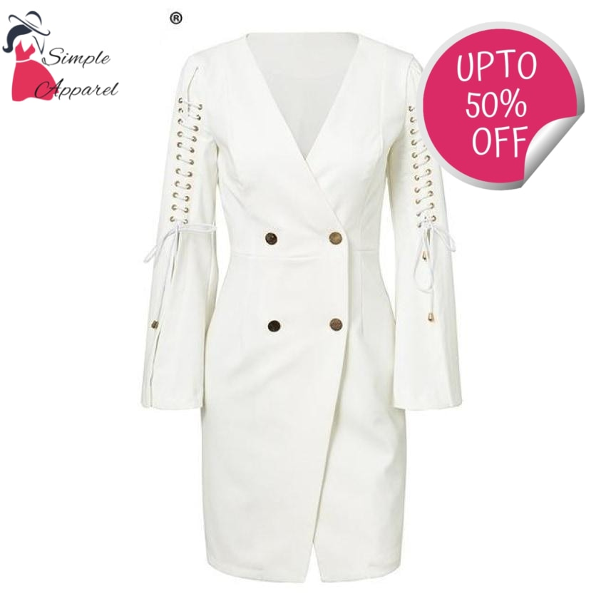 Simple Lace Up Split Blazer Dress White / S