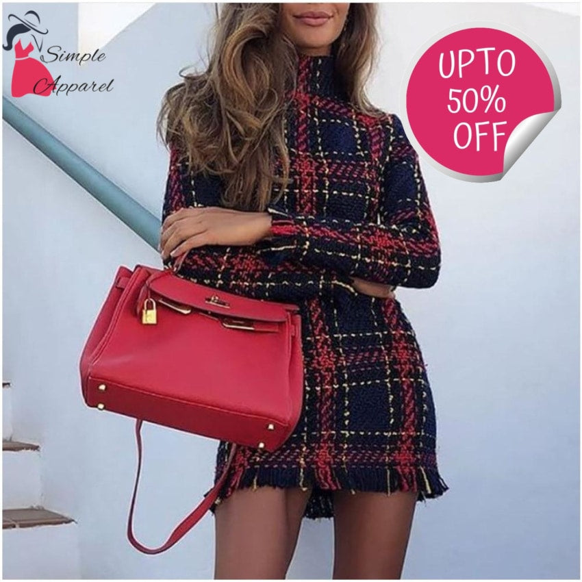 Simple Plaid Tweed Dress