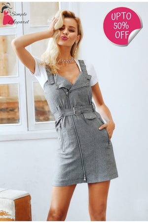 Simple Plaided V Neck Moto Dress