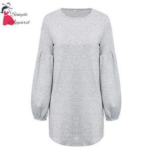 Simplee Vintage Lantern Sleeve Knitted Sweater Women Plus Size Elegant Loose Casual Pullover Winter