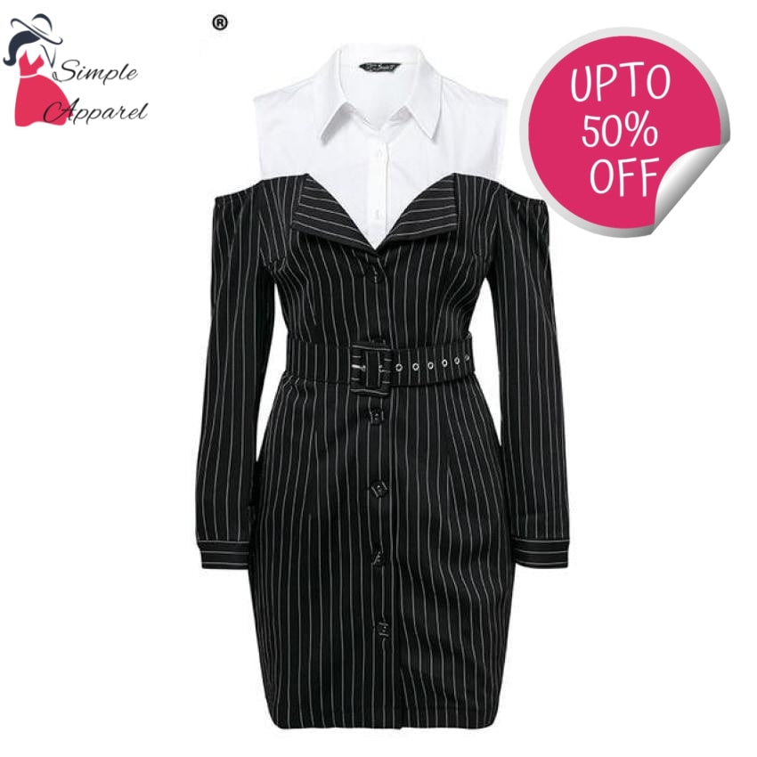Two Piece Stripe Women Dress Black / S