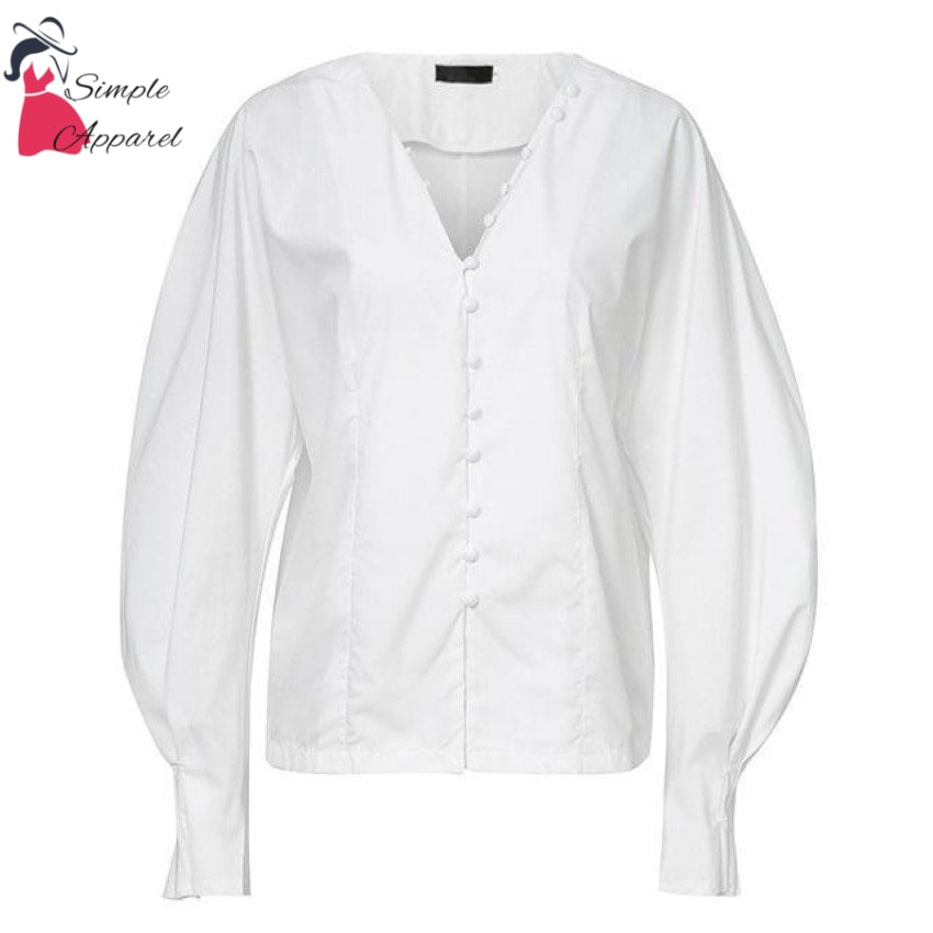 V Neck Buttoned Top White / S