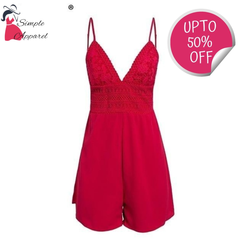 V Neck Strap Sexy Lace Romper Red / S