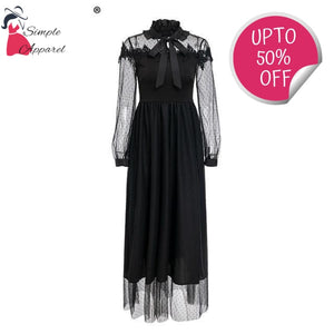 Vestidos Elegant Lining Transparent Long Dress Black / S