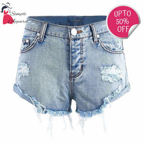 Vintage Ripped Hole Denim Shorts Light Blue / 25