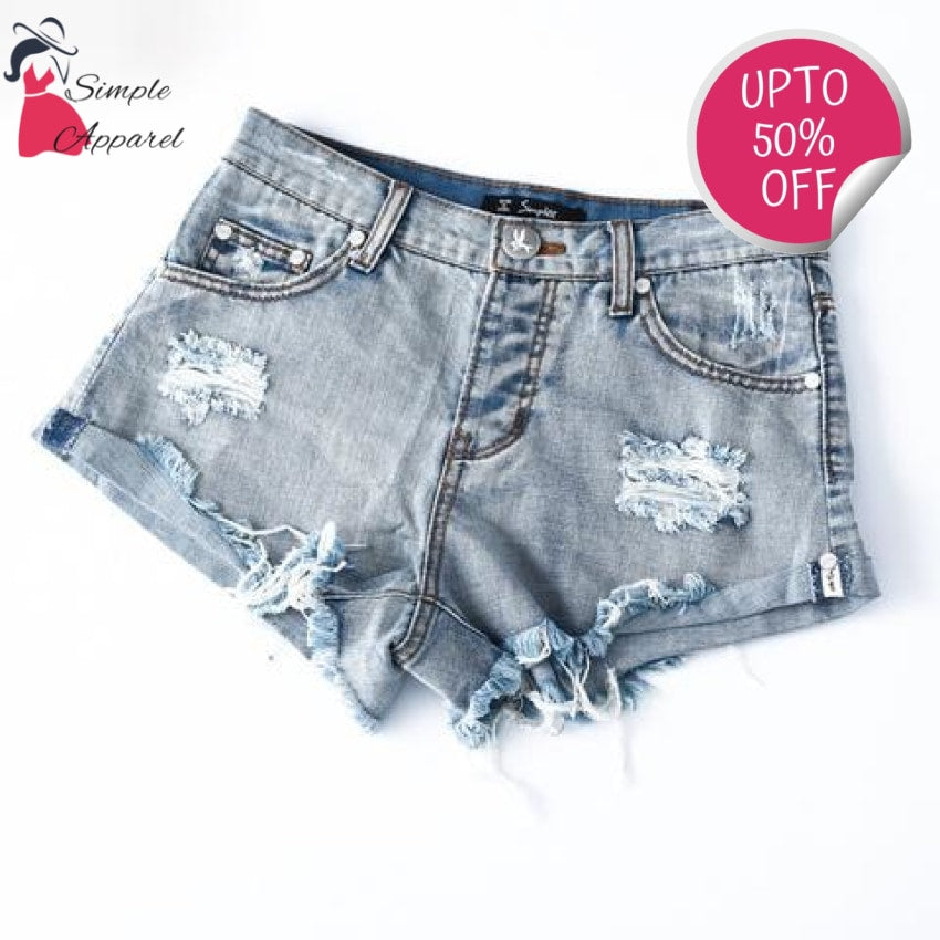 Vintage Ripped Hole Denim Shorts