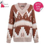Vintage V Neck Geometric Sweater Camel / S