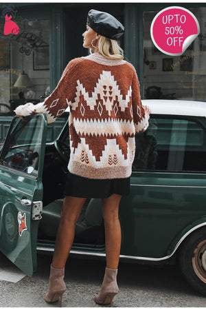 Vintage V Neck Geometric Sweater