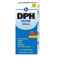 dph elixir antihistamine for fast relief sneezing itching watery eyes alergies 120 ml - JamaicanFavorite