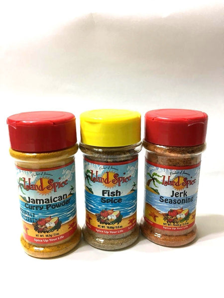 island spice jamaica jerk seasoning curry powder & fish spice (set of 3) - JamaicanFavorite