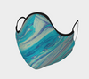 Blue Swirls Face Mask, with Filter Pocket and Metal Nose Piece
