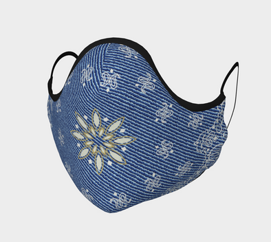 Blue Paisley Face Mask, with Filter Pocket and Metal Nose Piece