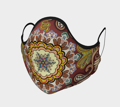 Boho Face Mask, Paisley Bandana design, with Filter Pocket and Metal Nose Piece