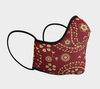 Red Paisley Face Mask, with Filter Pocket and Metal Nose Piece