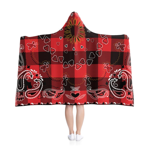 Red and Black Paisley Hooded Blanket - 80 x 56 in