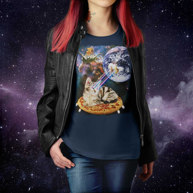 Space Cat on Pizza Blasting Earth With Laser Eyes T-shirt - Unisex