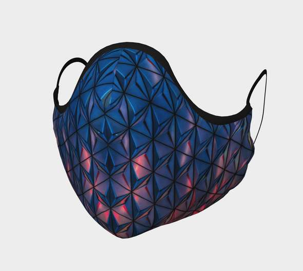 Blue Geometric Architecture Face Mask, with Filter Pocket and Metal Nose Piece