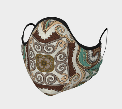 Brown and Sage Bandana Face Mask, with Filter Pocket and Metal Nose Piece