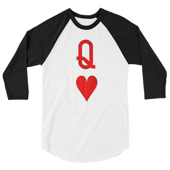 Queen of Hearts 3/4 sleeve raglan Playing Card Shirt