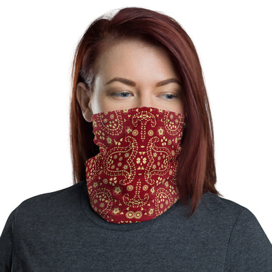Red Paisley Neck Gaiter, Red Paisley Mask